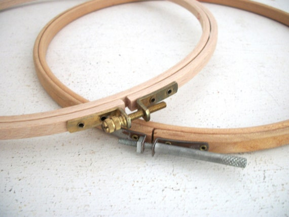 Vintage Wood Embroidery Hoops- Pair
