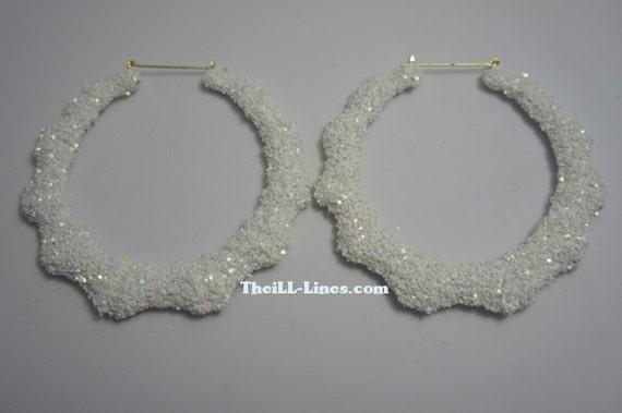 Bamboo Hoop Bling Bling Earrings White Iridescent
