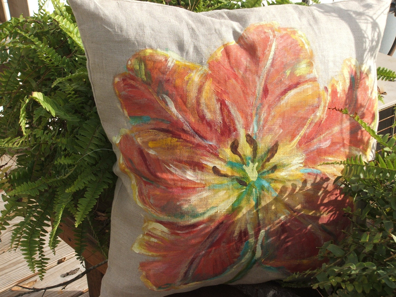 Shabby Chic Pillows On Etsy : hand painted shabby chic throw pillow by MyThymeCreations on Etsy