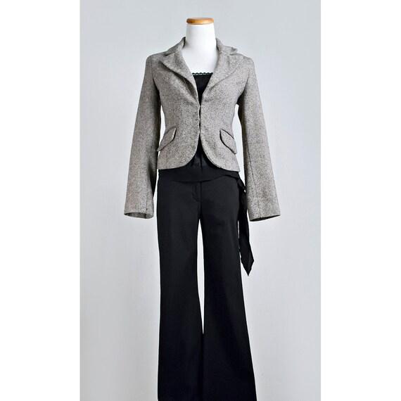 RESERVED / Vintage Tweed Bolero Blazer / 1970's Cream and Brown Wool Jacket / SALE
