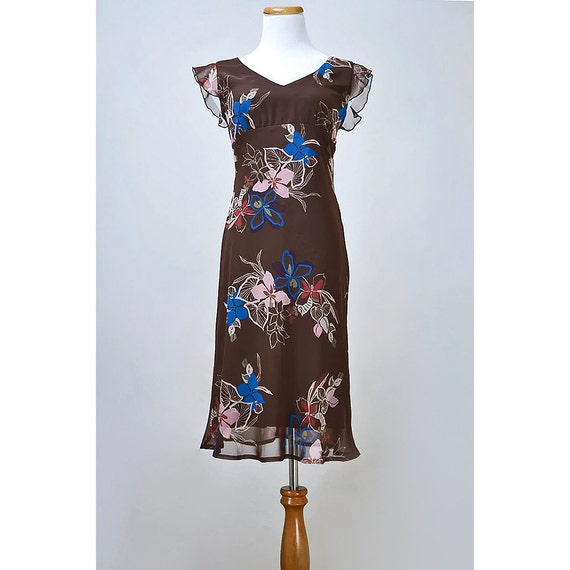 Cocoa Brown Floral Dress / Hawaiian Style Chiffon Dress with Empire Waist and Flutter Sleeves / SALE