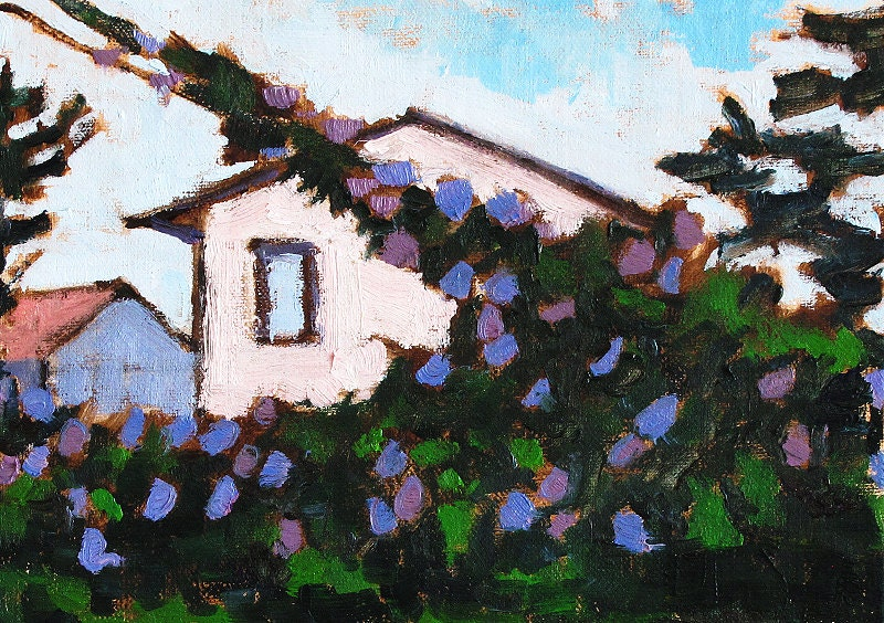 Santa Barbara California Painting- Morning Glory Vines
