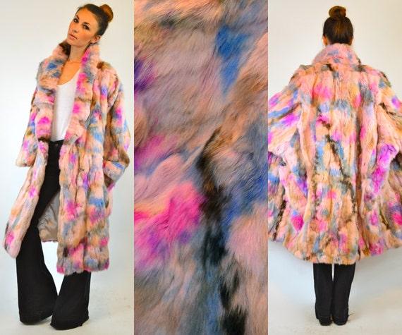 Multicolored Avant Garde Genuine Pastel Rabbit Fur Full