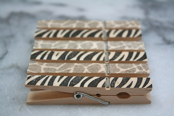 Printed wooden clothespins, set of 10 - animal prints, zebra stripe and giraffe spots