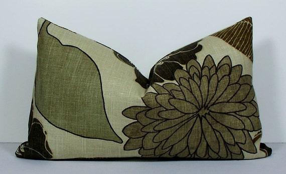 Items Similar To Linen Floral Designer Lumbar Pillow Cover
