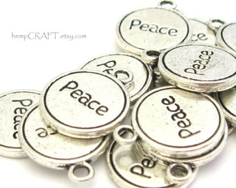 Peace Word Charms, 5pc Silver Color Inspirational Disc Charm, 13mm