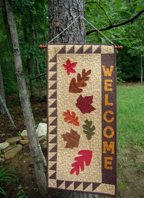 Quilted Wall Hanging, Door Banner, Quilt,Country Decor, Primitive Decor, Wall Hanging, Fall, Autumn