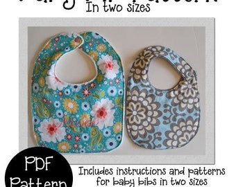 Baby Bib PDF Sewing Pattern, Bib Pattern in 2 sizes, Now Includes Bonus Burp Cloth Instructions