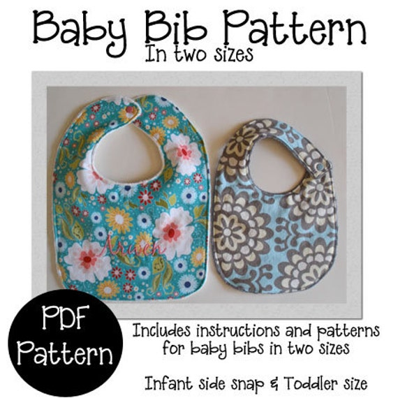 Items similar to Baby Bib PDF Sewing Pattern, Bib Pattern ...