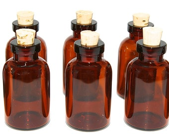 20 Amber Mini Glass  5 ML Bottles with Corks for Potions, Jewelry, Samples, Favors, Perfume, Seasonings, Dollhouse, Collectibles