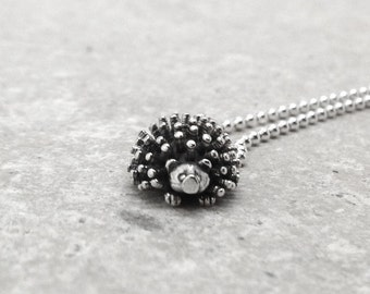 Hedgehog Necklace, Hedgehog Jewelry, Hedgehog Pendant, Charm Necklace, Sterling Silver Jewelry, Hedgehogs, Hedgehog Charm