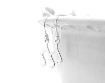 Sterling Silver Music Note Earrings, Music Note Jewelry, Musical Note Earrings, Music Earrings, Music Jewelry, Sterling Silver Jewelry