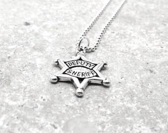 Deputy Sheriff Necklace, Deputy Star Necklace, Deputy Sheriff Jewelry, Charm Necklace, Sheriff Badge Sterling SIlver Jewelry