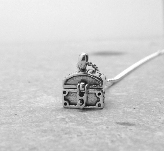 Treasure Chest Necklace, Treasure Chest Jewelry, Treasure Chest Pendant, Pirate Necklace,Sterling SIlver Jewelry