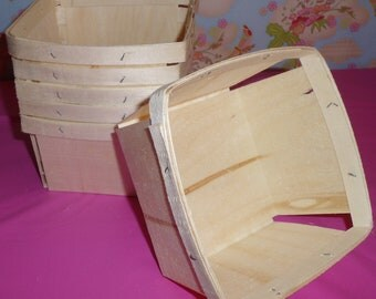 24 -1 Quart Wooden Square Berry Baskets  ( Currently On Back-order)