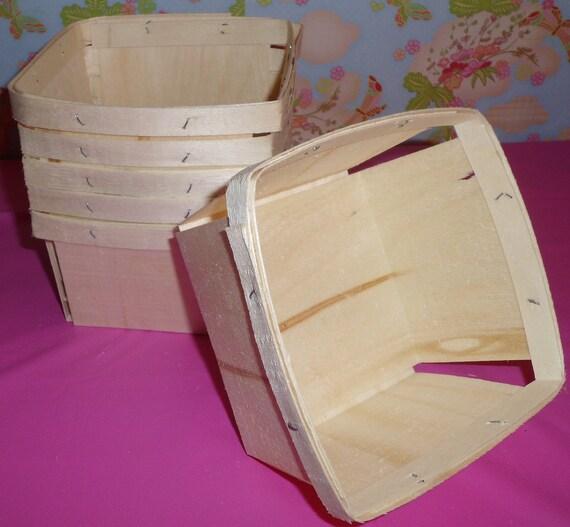 6 - 1 Quart  Wooden Square Berry Baskets