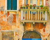 Italy photography - Venetian Fairy Tale - Venice - door architecture gold blue teal - Fine art travel photography - 8x12 -or- 8x10