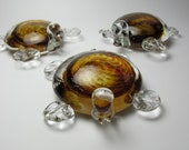 Turtle - Glass Turtle - Turtle Sculpture - Amber Brown Glass Turtle