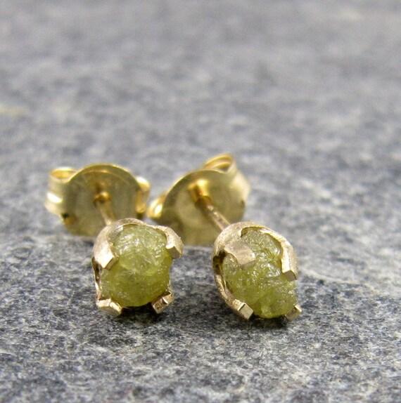 14K Gold Raw Diamond Earrings