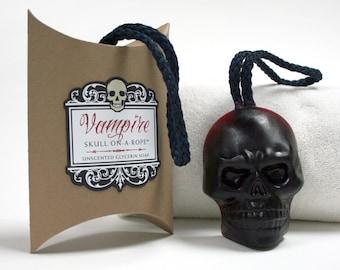Vampire Skull-On-A-Rope Skull Gift - TRUE BLOOD Red Skull - Soap On A Rope Skull - DemBones -  Skull Soap - Valentine Gift - Goth Gift