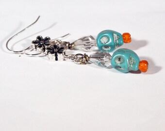 Blue Sugar Skull Earrings //  Valentine Skull Gift // Crystal Turquoise Skull // Gothic Lolita // Day of the Dead