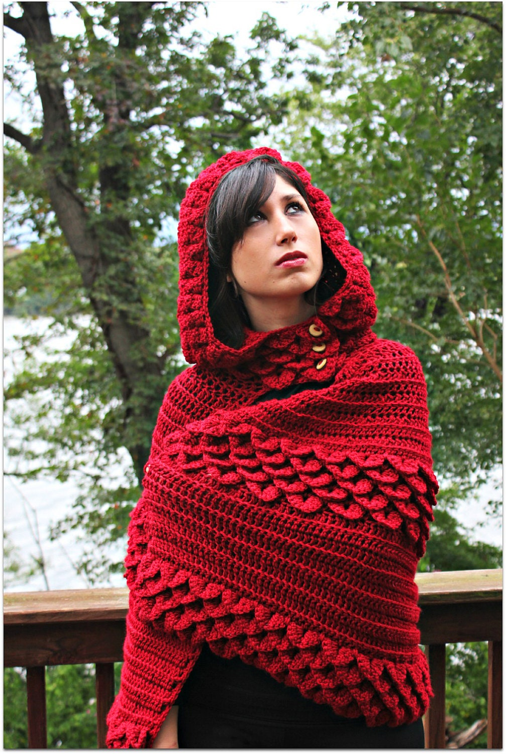 CROCHET PATTERN: Crocodile Stitch Hooded Cape Permission to