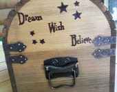 Love found in the Stars - Custom Design - Rustic Wood Treasure Chest or Wedding Card Box with CARD SLOT,  Antique-Inspired LOCK and Hardware