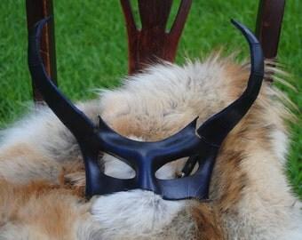 Sapphire Demon Leather Mask