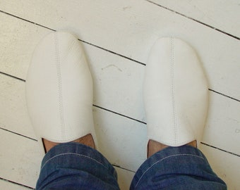 Creamy white babouches-Dervish shoes-Indoor slippers