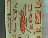 C.1940 Pork Chart, Meat Cuts, Butcher Chart