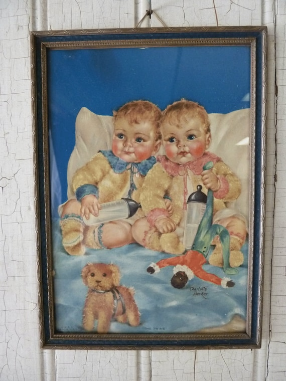 The Twins - Charlotte Becker - 1920s or early 1930s Print - Framed