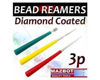 Mazbot 3pc Diamond Bead Pearl Reamer Set Jewelry Tool Beading Hole Reamers DBR1