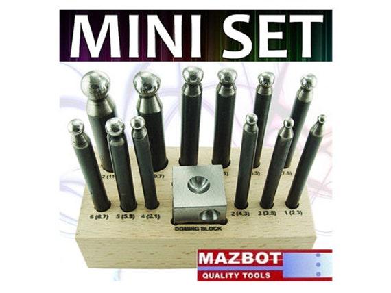 Mazbot 12 Punch MINI Dapping Set w/ Doming Block Pro Jewelry Tool DPSM