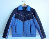 vintage 70's retro blue winter jacket jc penneys unisex