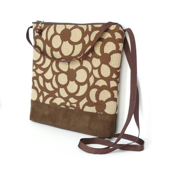 Crossbody Bag, Fabric Hip Bag, Purse Pouch - Petula Floral in Brown and Khaki
