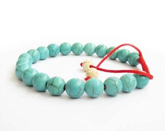 8mm Imitate Blue Turquroise Round Beads Charm Beaded Adjustable Bracelet  T2849