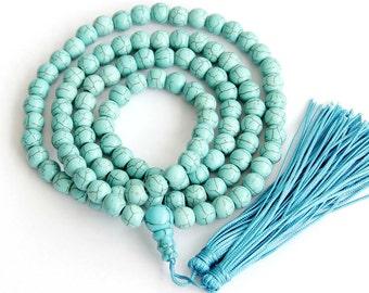 8mm 108 Imitate Blue Turquoise Round Beaded Tibet Buddhist Prayer Beads Japa Mala Necklace   ZZ184