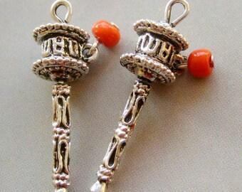2Pcs Alloy Metal Tibet Buddhist Prayer Wheel Pendant Beads Jewelry Finding--2Pieces--26mm x 8mm  ja201