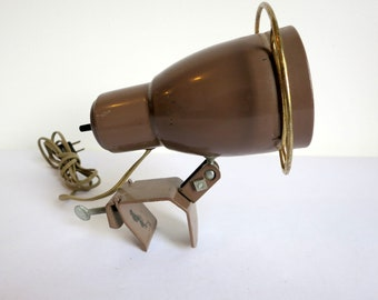 Mid Century Brown Task Clamp Lamp