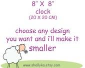 "8""x 8"" clock for children -canvas clock- Decorative hand painted square clock, nursery/ kitchen clock"