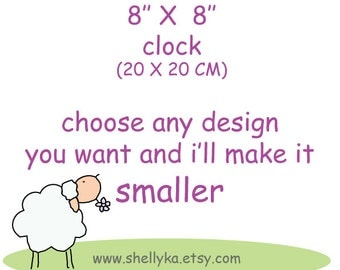 "8""x 8"" clock for children -canvas clock- Decorative hand painted square clock, nursery/ kitchen clock"