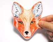 Sticker, Red Fox face animal sticker, 100% waterproof vinyl label.