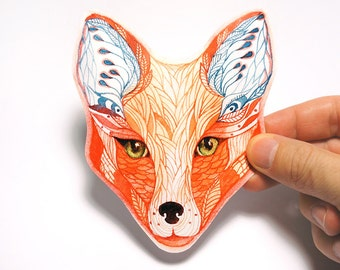 Sticker, Red Fox face animal sticker, 100% waterproof vinyl label.