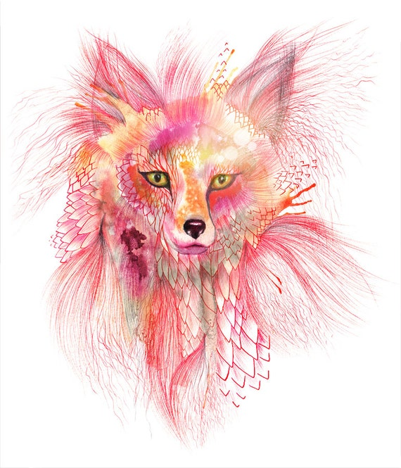 "Foxy Fur - fox watercolor wild animal art by Ola Liola, size 8""x10""  (No. 26)"