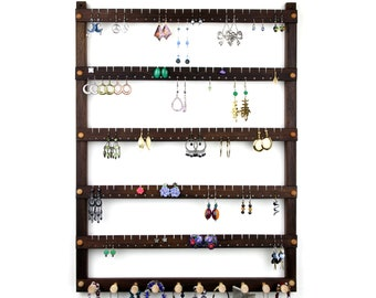 120 Pair Earring Holder with 10 Peg Necklace Bar, Wall Mount Peruvian Walnut Wood Jewelry Holder - Jewelry Display and Earring Holder