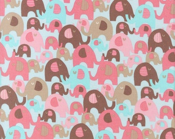 Elephants All Over - Pink - Quilting Cotton  Fabric BTY