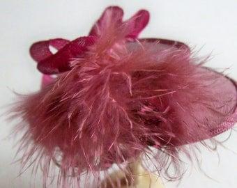 Dusky pink silk feather trimmed hat handmade in 1/12th scale dollhouse miniature