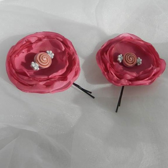 Pink Flower Candy Center Bobby Pin