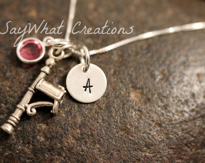 Sterling Silver Mini Initial Charm Necklace with Mail Box Charm and birthstone