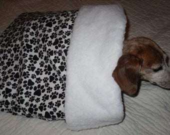 Small Dog White with Black Pawprints Print Snuggle Sack / Sleeping Bag FREE SHIPPING within the US